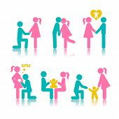 stock photo of family planning  - Set icons stages of creating a family - JPG