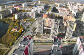 Bird eye view on residential districts in Tyumen
