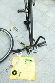 Bike parts in restoration process, outdoors