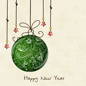 Beautiful floral design decorated hanging Christmas ball and stars for Happy New Year celebrations.