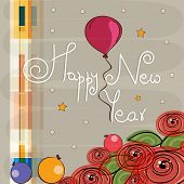 Beautiful greeting card for Happy New Year celebrations with red flowers and colorful balloons on star decorated stylish background.