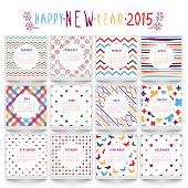 Yearly 2015 calendar with different pattern.