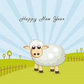 Poster, banner or flyer for Happy New Year celebrations with sheep on nature view background.