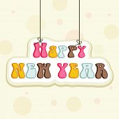 Colorful hanging text on stylish background for Happy New Year 2015 celebrations.