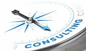 stock photo of compasses  - Business consulting concept image Compass with needle pointing the word consulting blue tones over white background - JPG
