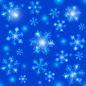 Blue Christmas seamless crystal snowflakes