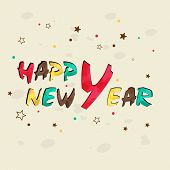 Happy New Year celebration concept with colorful shiny text on star decorated background.