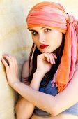 image of turban  - Woman wearing a turban in the desert - JPG