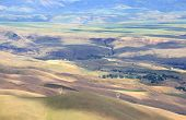 Aerial view of rolling hills in Washington state