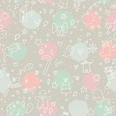 Stylish holiday seamless pattern in modern pastel colors. Cute Christmas and New Year background with candle, bell, bird, heart, background, cookie and other doodle elements in vector.