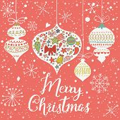 Vintage Merry Christmas card in vector. Retro holiday toys with cute New Year symbols inside