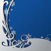 Christmas and New-Year's square greeting card and poster with blue background and snowflakes. Christmas and New-Year's background with frame