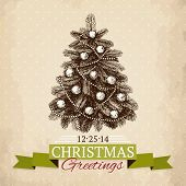 Vintage Christmas tree sketch for card or invitation design.