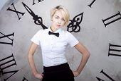 Businesswoman Near The Clock