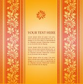 Orange traditional floral background