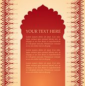 stock photo of indian  - Traditional Indian temple gate banner with henna design borders and space for text - JPG