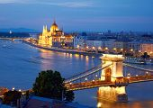 Budapest, Hungary. Chain Bridge and the Parliament