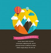 Air balloon, sun, mountain background with ribbons