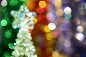 New Year Colorful Abstract Composition Of Lights In The Defocusing