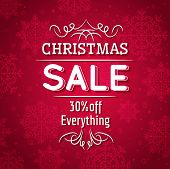 Red Christmas Background And Sale Offer, Vector