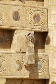 Traditional old carved door and handle, Sanaa, Yemen.