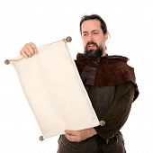 Medieval Man Holding A Scroll