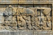 Carved stone at Borobudur temple