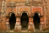 Arches of Pancharatna Govinda Temple in Puthia, Bangladesh.