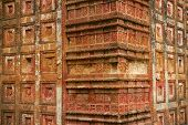 image of radha  - Terracotta decorated walls of Pancharatna Govinda Temple in Puthia - JPG