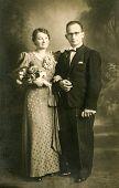 GERMANY, CIRCA 1937: Vintage photo of newlyweds