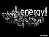 Vector eps concept or conceptual abstract green energy and ecology and conservation word cloud text on black background