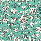 Vector seamless pattern with cute floral elements