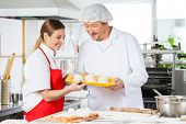 Smiling male and female chefs holding pasta tray in commercial kitchen