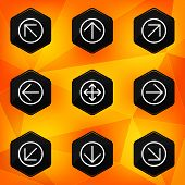 Arrow. Hexagonal icons set on abstract orange background