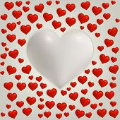 Heart Valentines day card with red hearts and big white heart