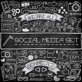 Doodle social media icons set with chalkboard effect