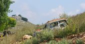 Wrecked Car on hill Preveza Greece