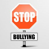 stock photo of stop bully  - detailed illustration of a red stop Bullying sign - JPG