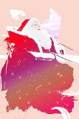 Detail of Santa Claus riding a sled - Illustration