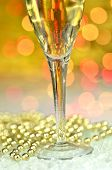 a glass of champagne on bokeh background
