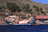 Ferry on Lake Titicaca at Tiquina, Bolivia