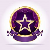 golden star with diamonds on purple circle stage with blank banner