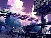 picture of futuristic  - Abstract drawn futuristic sci - JPG