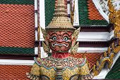 Red Giant Guardian In Wat Phra Kaew Temple ,bangkok,thailand
