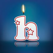 Candle letter h with flame - eps 10 vector illustration