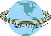 Rainbow music around the planet earth