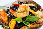 Spicy Squid Ink Spaghetti With Green Mussel And Shrimp