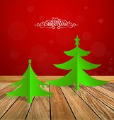 Christmas greeting card with Christmas tree, vector illustration.