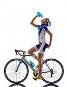 woman triathlon athlete  cyclist cycling drinking on white background