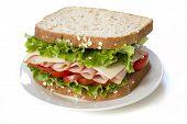 Ham sandwich isolated on white